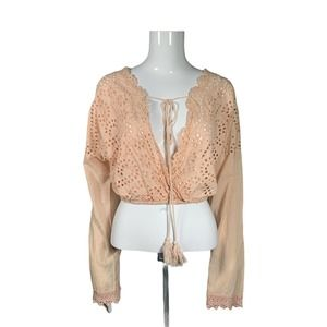 OneTheLand Coral Sangallo Lace Crop Top
